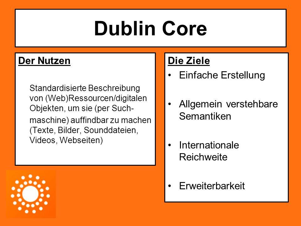 Dublin Core: Die Funktion 15 Kernelementfelder (core elements) + 3 Ergänzungs- elementfelder + spezielle Verfeinerungen (element refinements nach Dumb-Down Principle)  simple DC und qualified DC Alle Felder sind optional und in beliebiger Reihenfolge verwendbar Meistens in XML dargestellt (auch in RDF) In HTML Dokumenten werden DC Matadaten im Dokumentkopf angegeben