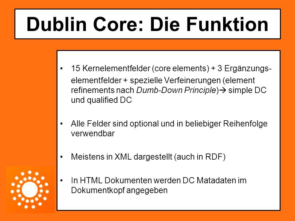 Dublin Core: Die Funktion 15 Kernelementfelder (core elements) + 3 Ergänzungs- elementfelder + spezielle Verfeinerungen (element refinements nach Dumb