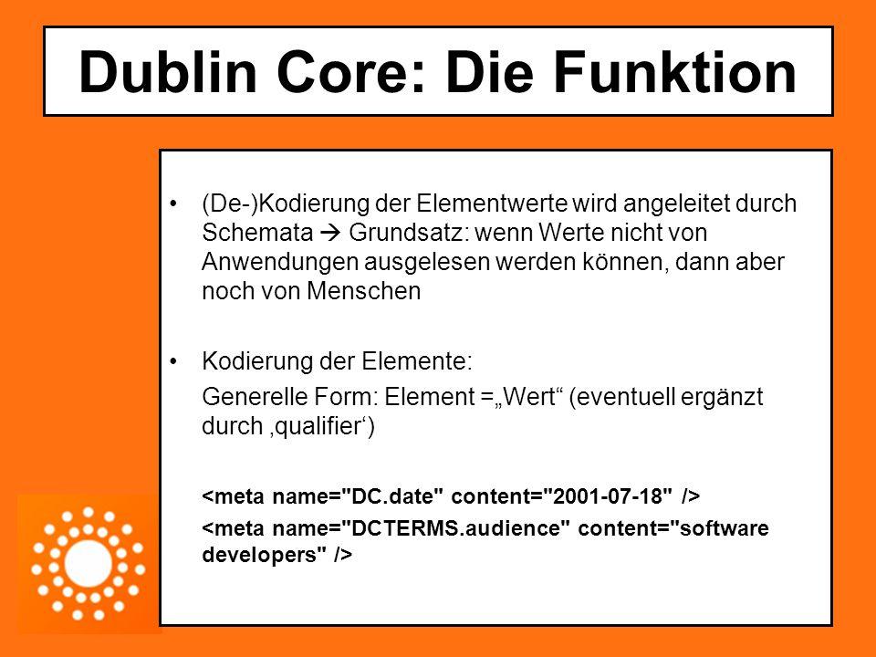 Dublin Core: Die Funktion (De-)Kodierung der Elementwerte wird angeleitet durch Schemata  Grundsatz: wenn Werte nicht von Anwendungen ausgelesen werd