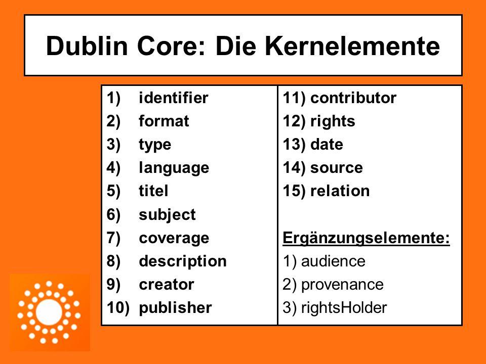Dublin Core: Die DCMI Struktur: Direktorat; Aufsichtsrat; Beratergremien Verschiedene spezialisierte Arbeitsgruppen (communities) Aufgabe: Weiterentwicklung und Pflege des Metadatenschemas Homepage der DCMI: http://dublincore.org/http://dublincore.org/