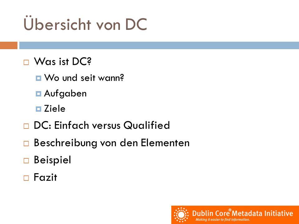 Übersicht von DC  Was ist DC?  Wo und seit wann?  Aufgaben  Ziele  DC: Einfach versus Qualified  Beschreibung von den Elementen  Beispiel  Faz