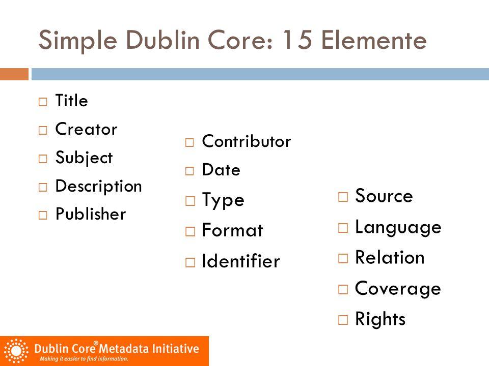Simple Dublin Core: 15 Elemente  Title  Creator  Subject  Description  Publisher  Contributor  Date  Type  Format  Identifier  Source  Lan