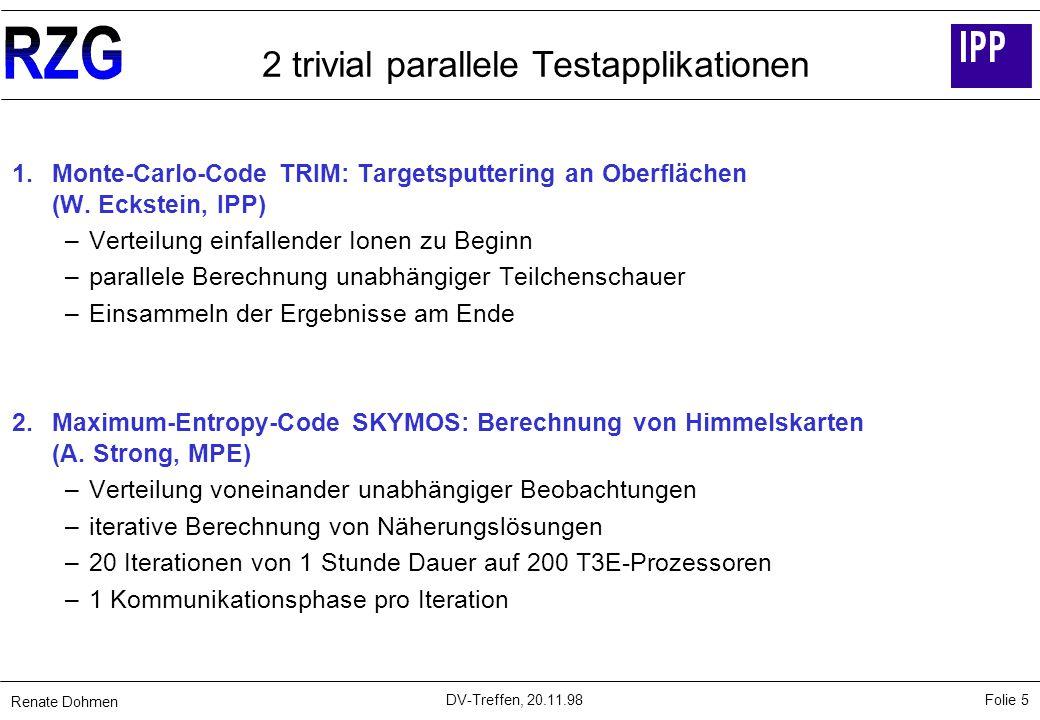 Renate Dohmen Folie 5 DV-Treffen, 20.11.98 2 trivial parallele Testapplikationen 1.