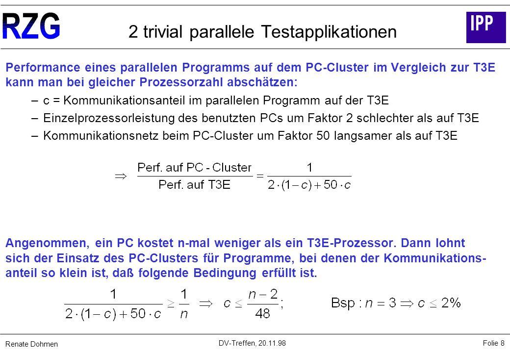 Renate Dohmen Folie 8 DV-Treffen, 20.11.98 2 trivial parallele Testapplikationen Performance eines parallelen Programms auf dem PC-Cluster im Vergleich zur T3E kann man bei gleicher Prozessorzahl abschätzen: – c = Kommunikationsanteil im parallelen Programm auf der T3E – Einzelprozessorleistung des benutzten PCs um Faktor 2 schlechter als auf T3E – Kommunikationsnetz beim PC-Cluster um Faktor 50 langsamer als auf T3E Angenommen, ein PC kostet n-mal weniger als ein T3E-Prozessor.