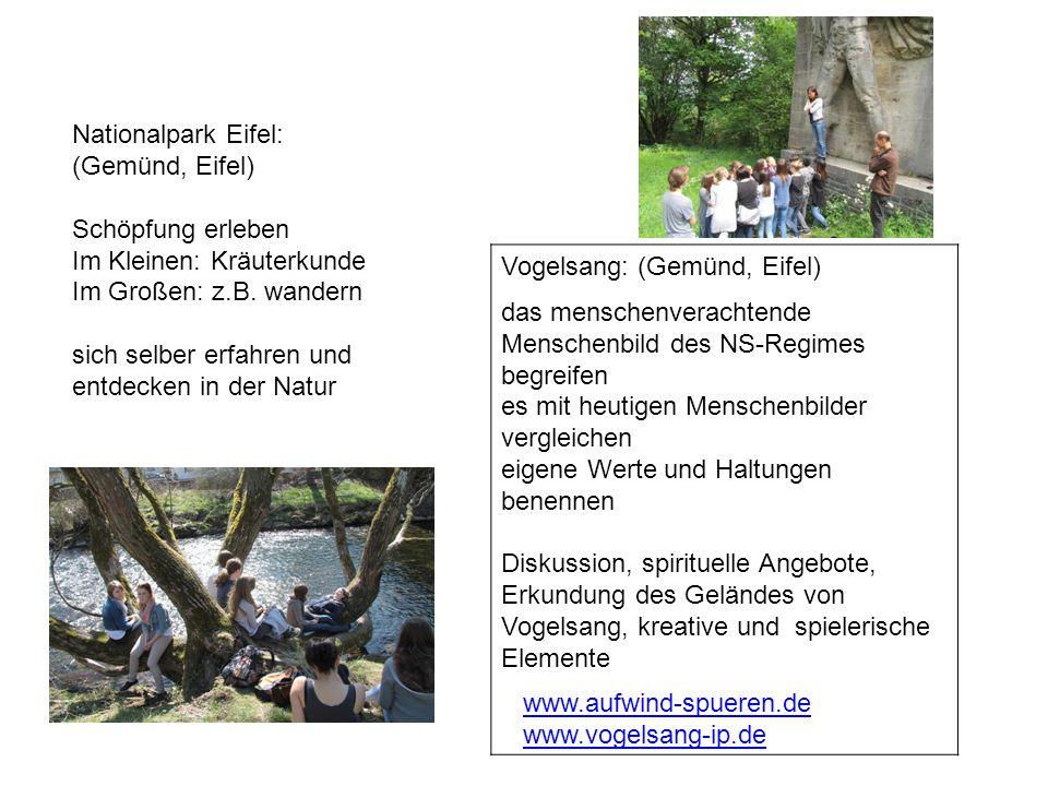 Vogelsang: (Gemünd, Eifel) das menschenverachtende Menschenbild des NS-Regimes begreifen es mit heutigen Menschenbilder vergleichen eigene Werte und H