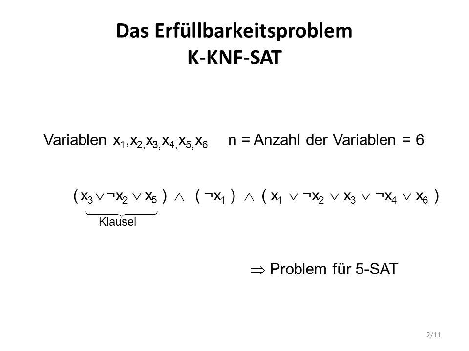 3/11 Das Erfüllbarkeitsproblem K-KNF-SAT Also: Gegeben ist eine Menge von Klauseln mit jeweils bis zu k Literalen Eine Klausel hat die Form (u 1  u 2  …  u l ), l  k, wobei u i  {x 1,…,x n }  {¬x 1,…,¬x n } Gesucht: Eine Belegung der Variablen x 1,…,x n mit Wahrheitswerten  {0, 1}, so dass die Auswertung der Formel 1 ergibt.