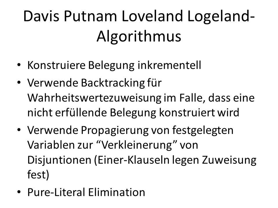 Davis Putnam Loveland Logeland- Algorithmus Konstruiere Belegung inkrementell Verwende Backtracking für Wahrheitswertezuweisung im Falle, dass eine ni