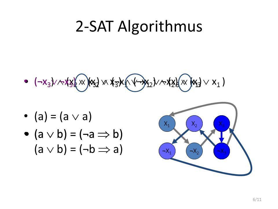 6/11 (¬x 3 )  (x 2  x 3 )  (¬x 1  ¬x 2 )  (x 3  x 1 ) (a  b) = (¬a  b) 2-SAT Algorithmus (¬x 3  ¬x 3 )  (x 2  x 3 )  (¬x 1  ¬x 2 )  (x 3