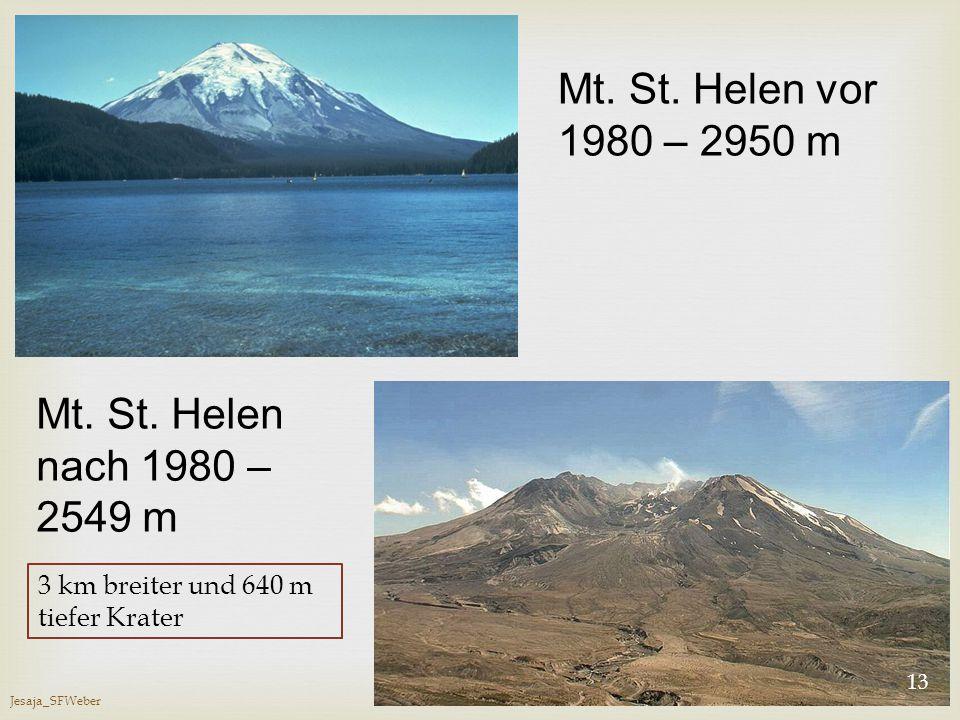 Jesaja_SFWeber 13 Mt. St. Helen vor 1980 – 2950 m Mt. St. Helen nach 1980 – 2549 m 3 km breiter und 640 m tiefer Krater