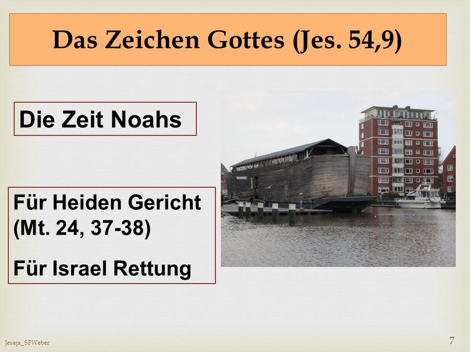 Jesaja_SFWeber 7 Das Zeichen Gottes (Jes. 54,9) Die Zeit Noahs Für Heiden Gericht (Mt. 24, 37-38) Für Israel Rettung
