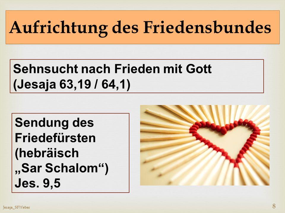 """Jesaja_SFWeber 8 Aufrichtung des Friedensbundes Sehnsucht nach Frieden mit Gott (Jesaja 63,19 / 64,1) Sendung des Friedefürsten (hebräisch """"Sar Schalo"""