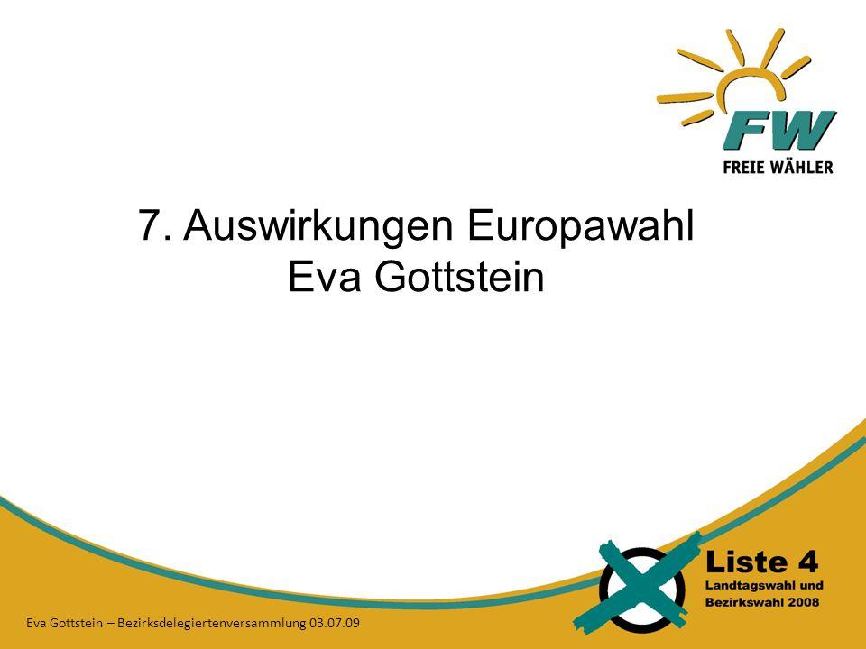 7. Auswirkungen Europawahl Eva Gottstein Eva Gottstein – Bezirksdelegiertenversammlung 03.07.09