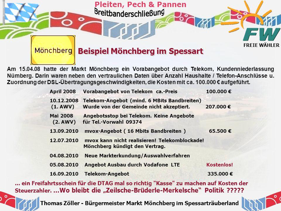 FREIE WÄHLER Pleiten, Pech & Pannen Thomas Zöller - Bürgermeister Markt Mönchberg im Spessarträuberland Beispiel Mönchberg im Spessart Am 15.04.08 hat