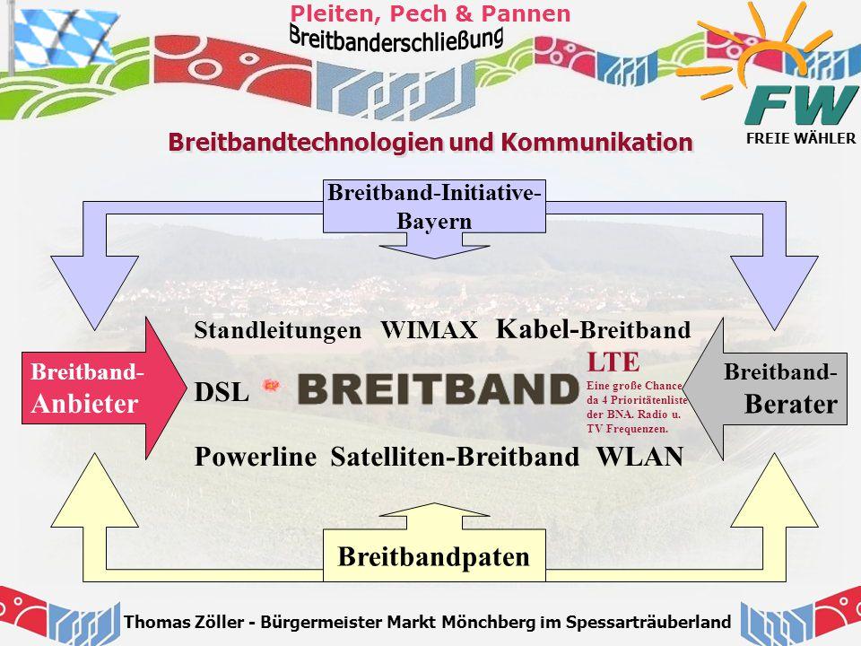FREIE WÄHLER Pleiten, Pech & Pannen Thomas Zöller - Bürgermeister Markt Mönchberg im Spessarträuberland Breitbandtechnologien und Kommunikation WLAN L