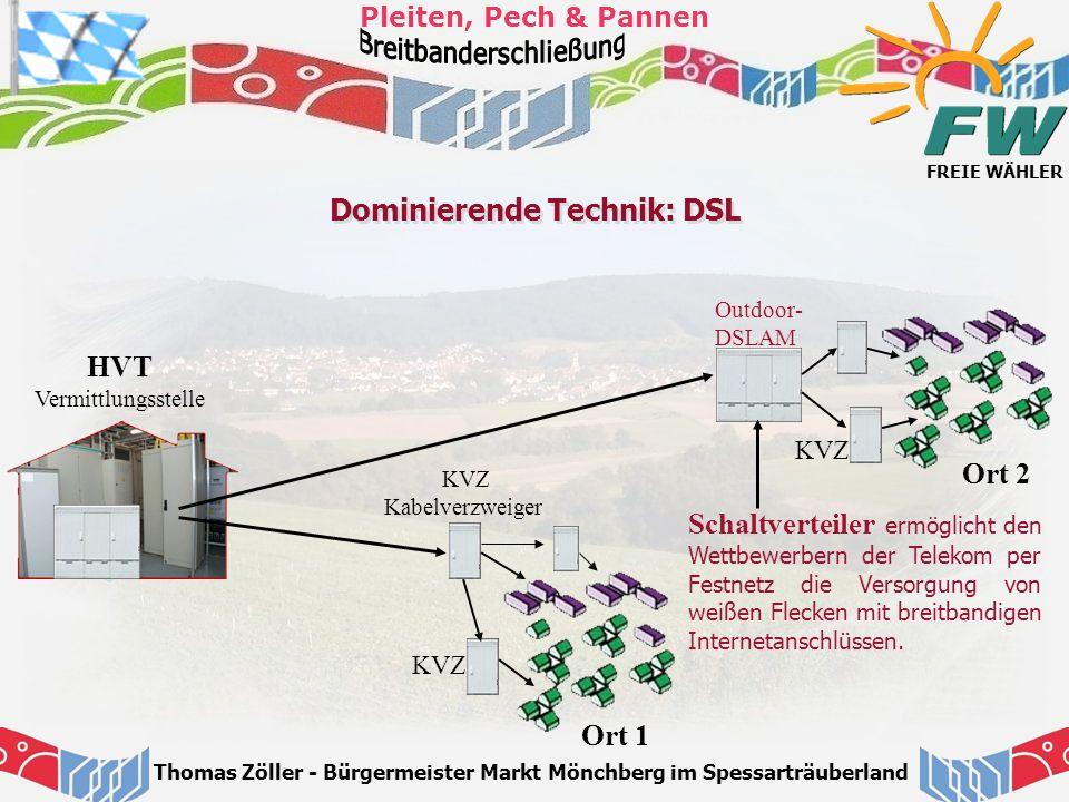 FREIE WÄHLER Pleiten, Pech & Pannen Thomas Zöller - Bürgermeister Markt Mönchberg im Spessarträuberland Dominierende Technik: DSL HVT Vermittlungsstel