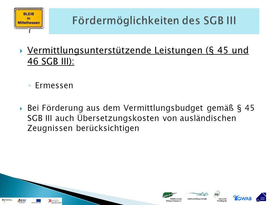  Vermittlungsunterstützende Leistungen (§ 45 und 46 SGB III): ◦ Ermessen  Bei Förderung aus dem Vermittlungsbudget gemäß § 45 SGB III auch Übersetzu
