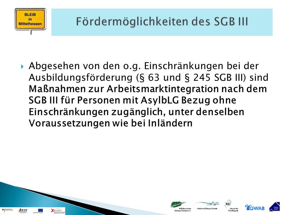  Abgesehen von den o.g. Einschränkungen bei der Ausbildungsförderung (§ 63 und § 245 SGB III) sind Maßnahmen zur Arbeitsmarktintegration nach dem SGB