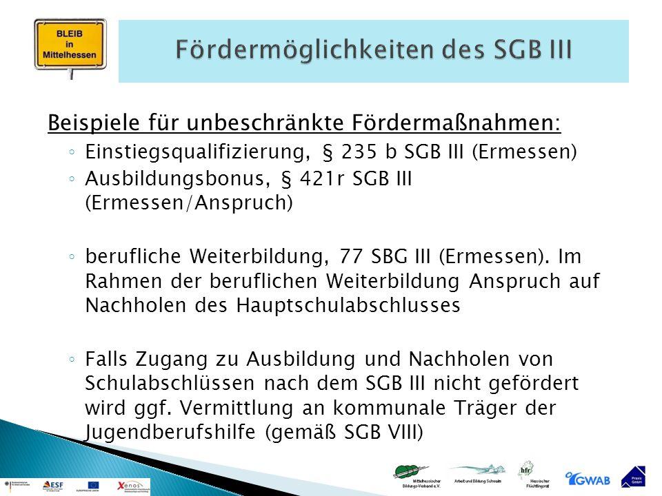 Beispiele für unbeschränkte Fördermaßnahmen: ◦ Einstiegsqualifizierung, § 235 b SGB III (Ermessen) ◦ Ausbildungsbonus, § 421r SGB III (Ermessen/Anspru