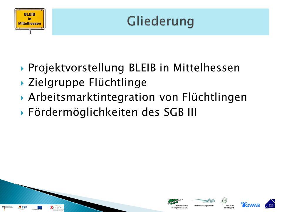  Projektvorstellung BLEIB in Mittelhessen  Zielgruppe Flüchtlinge  Arbeitsmarktintegration von Flüchtlingen  Fördermöglichkeiten des SGB III