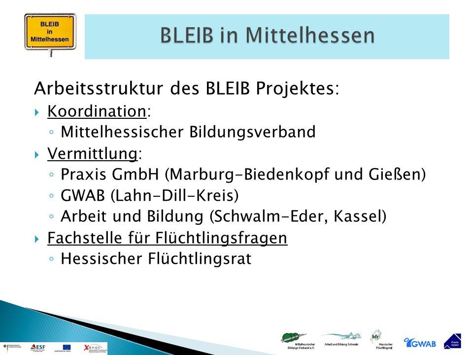 Arbeitsstruktur des BLEIB Projektes:  Koordination: ◦ Mittelhessischer Bildungsverband  Vermittlung: ◦ Praxis GmbH (Marburg-Biedenkopf und Gießen) ◦