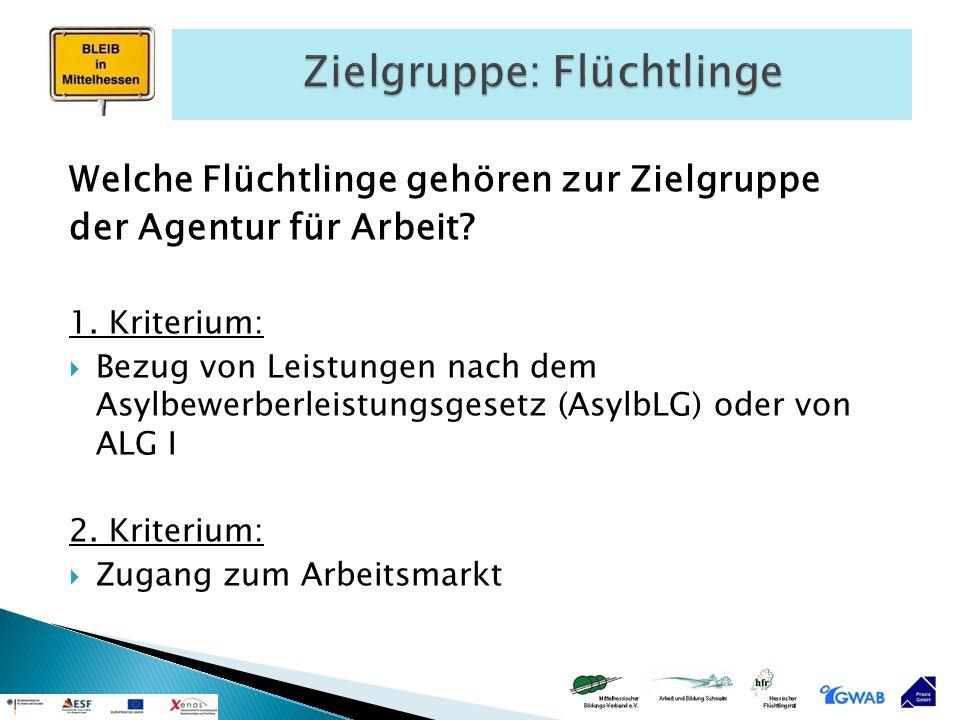 Welche Flüchtlinge gehören zur Zielgruppe der Agentur für Arbeit? 1. Kriterium:  Bezug von Leistungen nach dem Asylbewerberleistungsgesetz (AsylbLG)