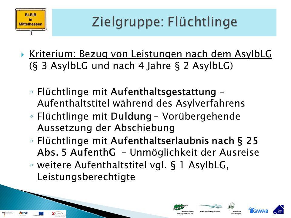  Kriterium: Bezug von Leistungen nach dem AsylbLG (§ 3 AsylbLG und nach 4 Jahre § 2 AsylbLG) ◦ Flüchtlinge mit Aufenthaltsgestattung – Aufenthaltstit