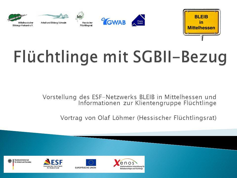 Vorstellung des ESF-Netzwerks BLEIB in Mittelhessen und Informationen zur Klientengruppe Flüchtlinge Vortrag von Olaf Löhmer (Hessischer Flüchtlingsra