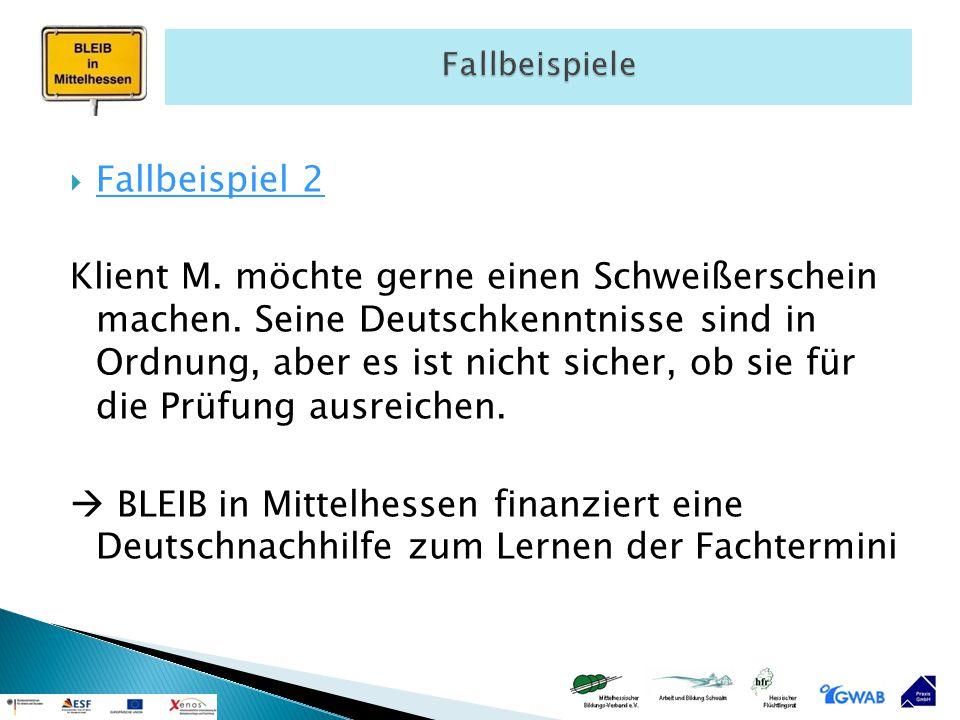  Fallbeispiel 2 Klient M. möchte gerne einen Schweißerschein machen. Seine Deutschkenntnisse sind in Ordnung, aber es ist nicht sicher, ob sie für di