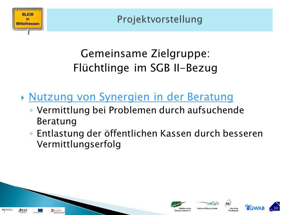 Gemeinsame Zielgruppe: Flüchtlinge im SGB II-Bezug  Nutzung von Synergien in der Beratung ◦ Vermittlung bei Problemen durch aufsuchende Beratung ◦ En