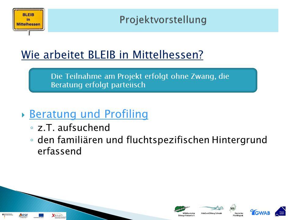 Wie arbeitet BLEIB in Mittelhessen?  Beratung und Profiling ◦ z.T. aufsuchend ◦ den familiären und fluchtspezifischen Hintergrund erfassend Die Teiln
