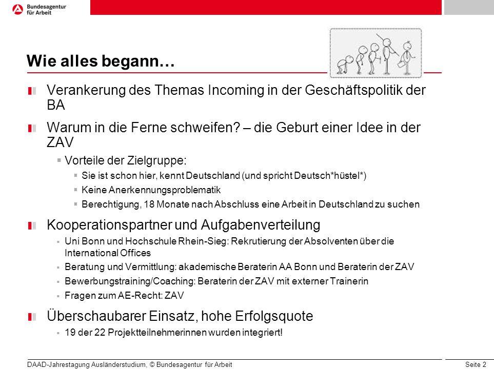 Seite 2 DAAD-Jahrestagung Ausländerstudium, © Bundesagentur für Arbeit Wie alles begann… Verankerung des Themas Incoming in der Geschäftspolitik der B