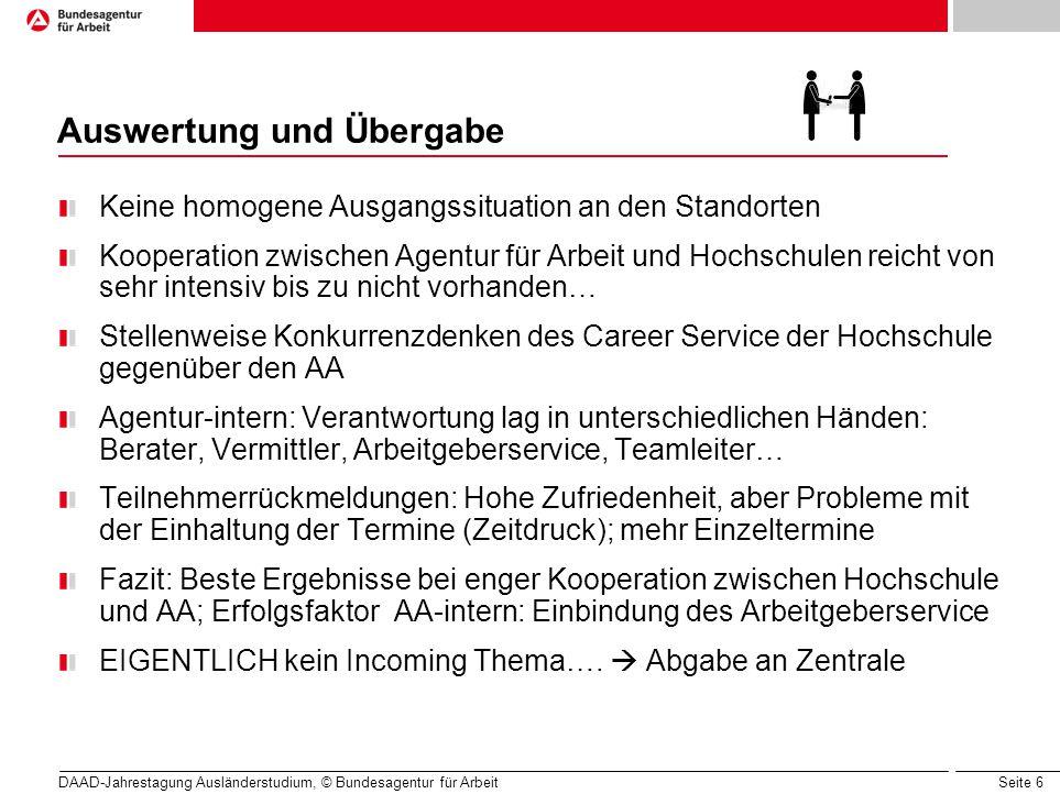 Seite 6 Auswertung und Übergabe Keine homogene Ausgangssituation an den Standorten Kooperation zwischen Agentur für Arbeit und Hochschulen reicht von