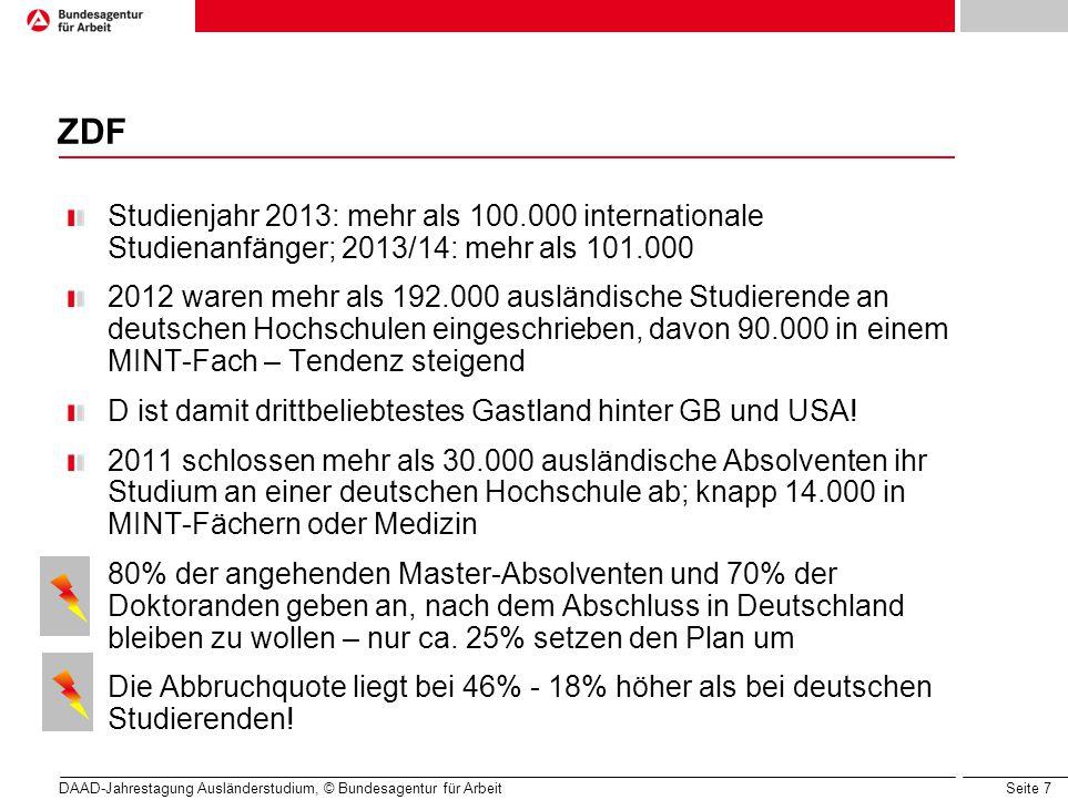 Seite 7 ZDF Studienjahr 2013: mehr als 100.000 internationale Studienanfänger; 2013/14: mehr als 101.000 2012 waren mehr als 192.000 ausländische Studierende an deutschen Hochschulen eingeschrieben, davon 90.000 in einem MINT-Fach – Tendenz steigend D ist damit drittbeliebtestes Gastland hinter GB und USA.