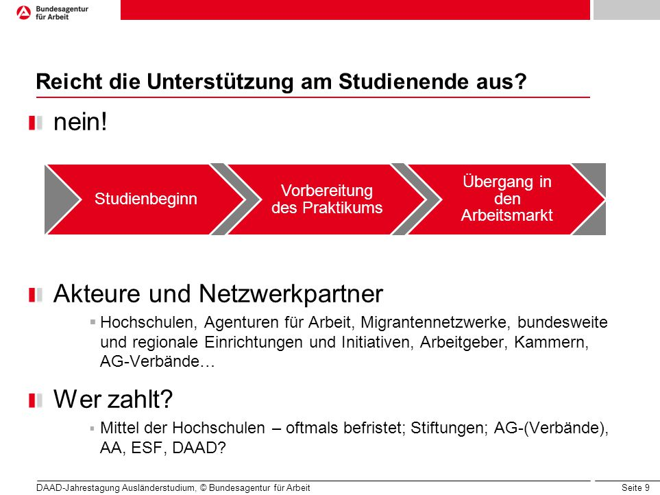 Seite 9 Reicht die Unterstützung am Studienende aus? nein! Akteure und Netzwerkpartner  Hochschulen, Agenturen für Arbeit, Migrantennetzwerke, bundes