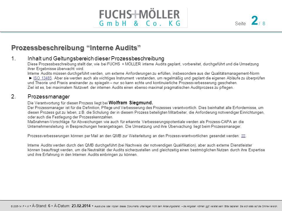 Seite 2 / 8 © 2006-14 F + M Ä-Stand: 6 Ä-Datum: 23.02.2014 Ausdrucke oder Kopien dieses Dokuments unterliegen nicht dem Änderungsdienst – die Angaben können ggf.