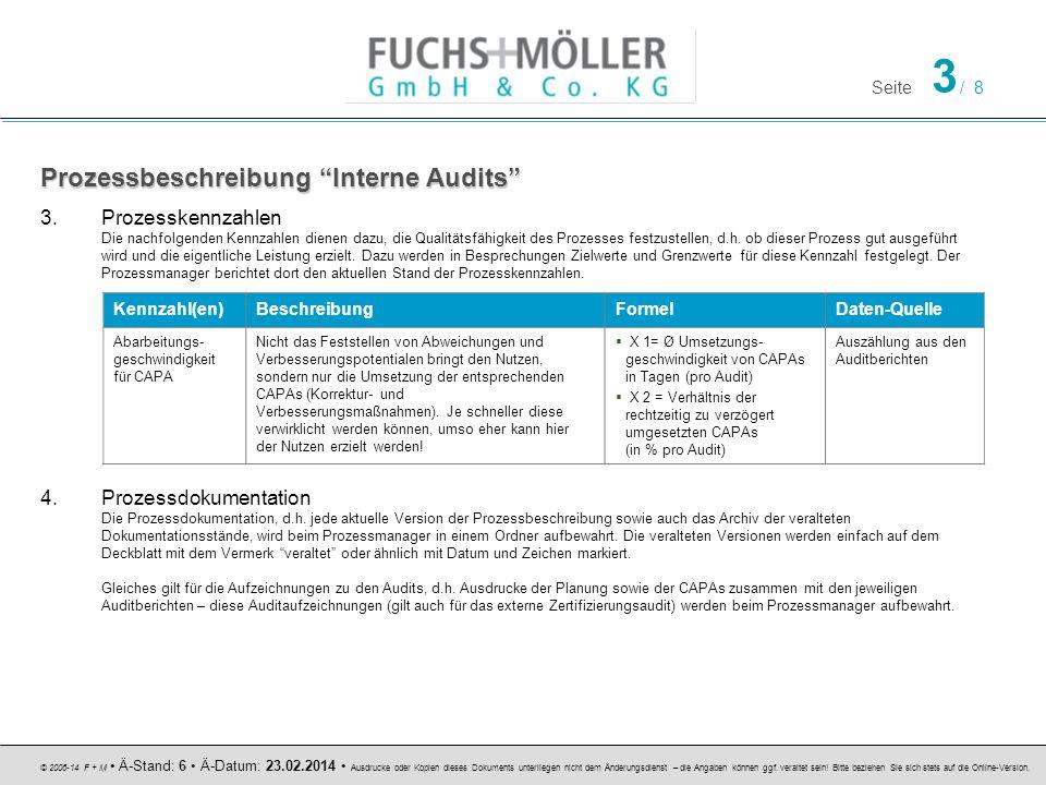 Seite 4 / 8 © 2006-14 F + M Ä-Stand: 6 Ä-Datum: 23.02.2014 Ausdrucke oder Kopien dieses Dokuments unterliegen nicht dem Änderungsdienst – die Angaben können ggf.