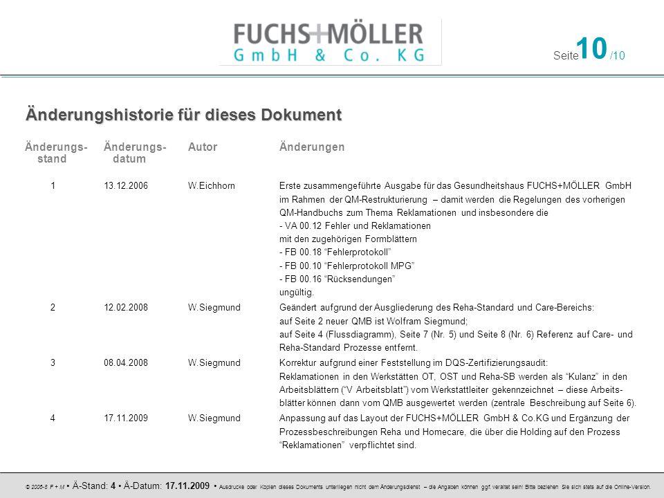 Seite 10 /10 © 2006-8 F + M Ä-Stand: 4 Ä-Datum: 17.11.2009 Ausdrucke oder Kopien dieses Dokuments unterliegen nicht dem Änderungsdienst – die Angaben