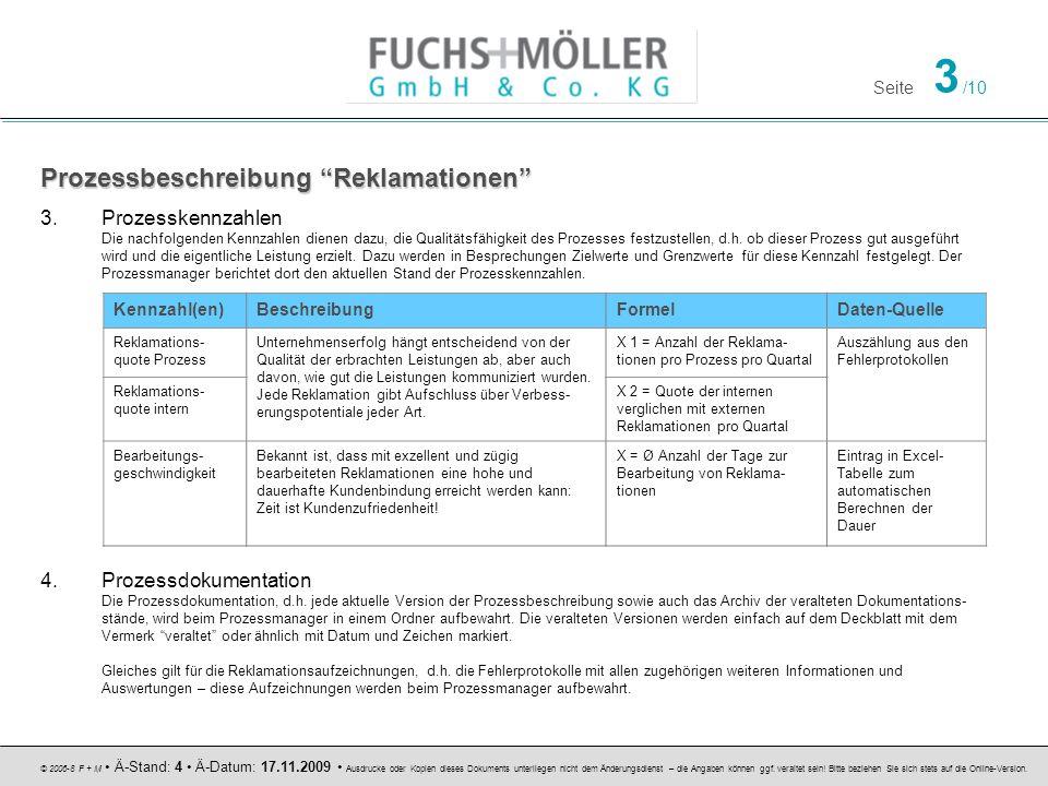 Seite 3 /10 © 2006-8 F + M Ä-Stand: 4 Ä-Datum: 17.11.2009 Ausdrucke oder Kopien dieses Dokuments unterliegen nicht dem Änderungsdienst – die Angaben k