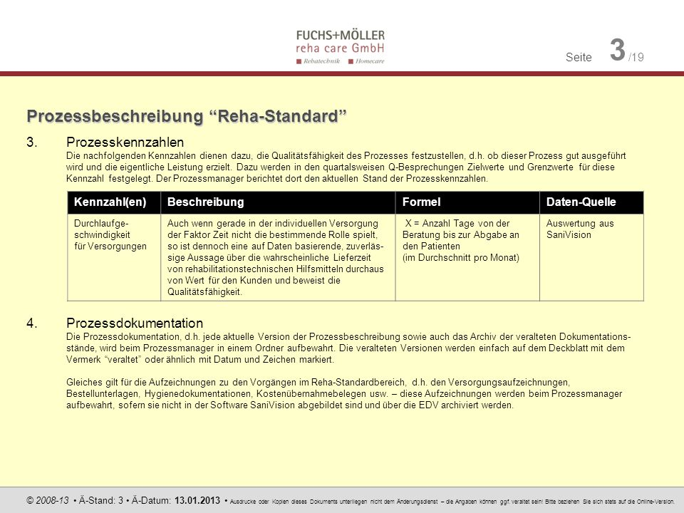 Seite 3 /19 © 2008-13 Ä-Stand: 3 Ä-Datum: 13.01.2013 Ausdrucke oder Kopien dieses Dokuments unterliegen nicht dem Änderungsdienst – die Angaben können