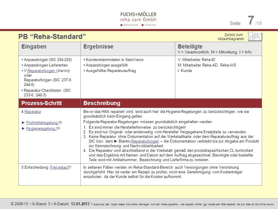 Seite 7 /19 © 2008-13 Ä-Stand: 3 Ä-Datum: 13.01.2013 Ausdrucke oder Kopien dieses Dokuments unterliegen nicht dem Änderungsdienst – die Angaben können