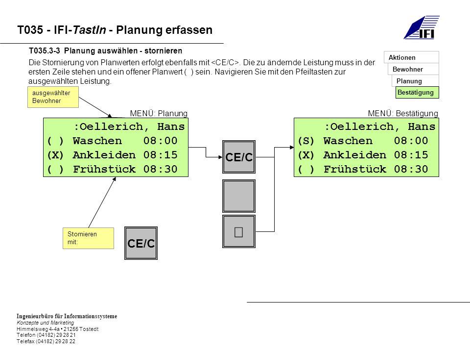 Ingenieurbüro für Informationssysteme Konzepte und Marketing Himmelsweg 4-4a 21255 Tostedt Telefon (04182) 29 28 21 Telefax (04182) 29 28 22 T035 - IFI-TastIn - Planung erfassen Die Stornierung von Planwerten erfolgt ebenfalls mit.