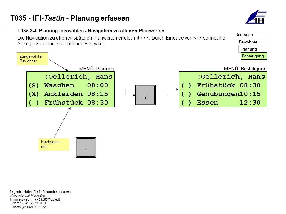Ingenieurbüro für Informationssysteme Konzepte und Marketing Himmelsweg 4-4a 21255 Tostedt Telefon (04182) 29 28 21 Telefax (04182) 29 28 22 T035 - IFI-TastIn - Planung erfassen Die Navigation zu offenen späteren Planwerten erfolgt mit.
