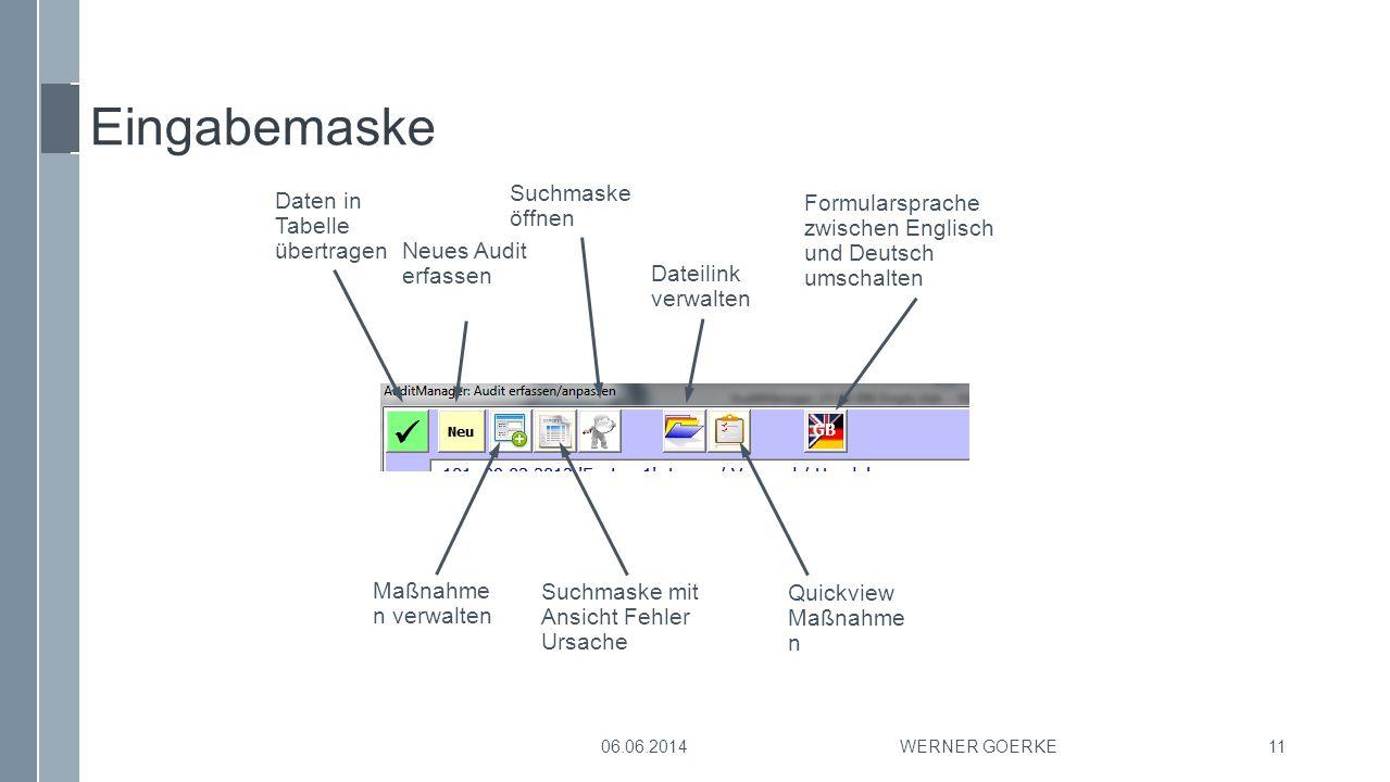 Eingabemaske WERNER GOERKE11 Daten in Tabelle übertragen Maßnahme n verwalten Neues Audit erfassen Suchmaske öffnen Dateilink verwalten Formularsprach