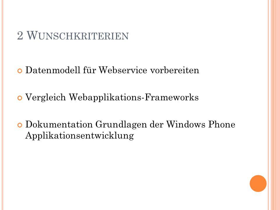 2 W UNSCHKRITERIEN Datenmodell für Webservice vorbereiten Vergleich Webapplikations-Frameworks Dokumentation Grundlagen der Windows Phone Applikationsentwicklung