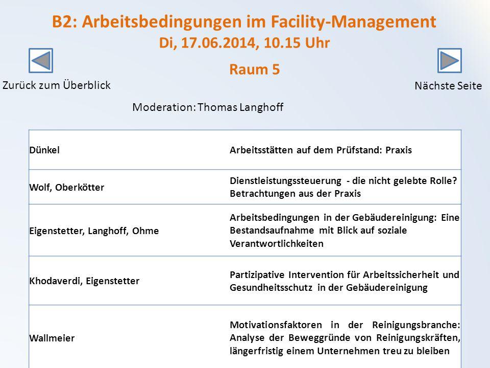 B2: Arbeitsbedingungen im Facility-Management Di, 17.06.2014, 10.15 Uhr DünkelArbeitsstätten auf dem Prüfstand: Praxis Wolf, Oberkötter Dienstleistungssteuerung - die nicht gelebte Rolle.