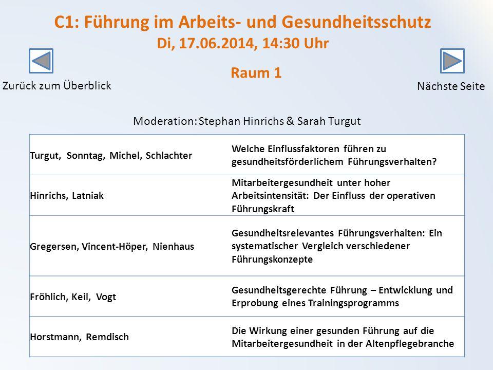 C1: Führung im Arbeits- und Gesundheitsschutz Di, 17.06.2014, 14:30 Uhr Turgut, Sonntag, Michel, Schlachter Welche Einflussfaktoren führen zu gesundheitsförderlichem Führungsverhalten.