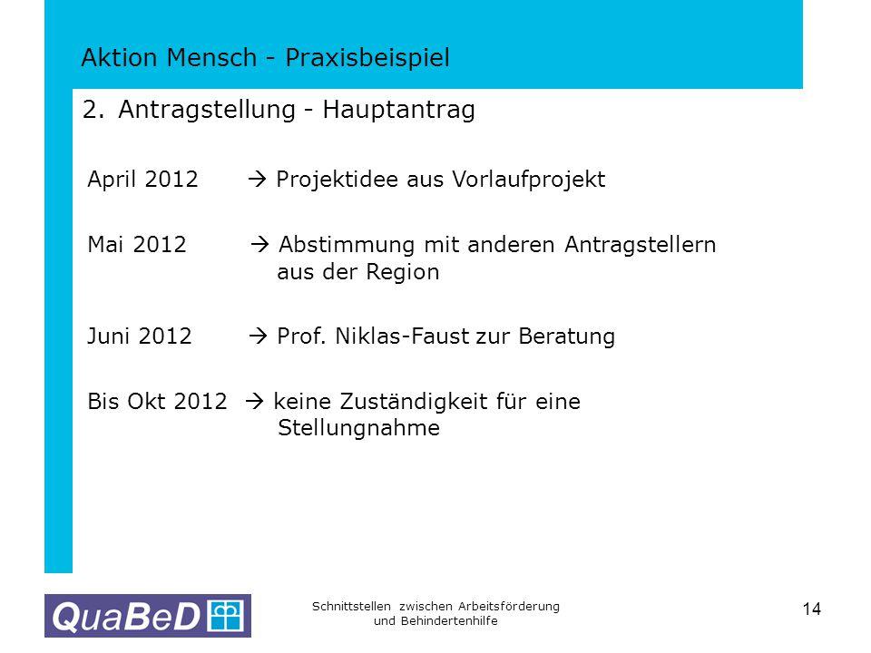 Aktion Mensch - Praxisbeispiel Schnittstellen zwischen Arbeitsförderung und Behindertenhilfe 14 2.Antragstellung - Hauptantrag April 2012  Projektide