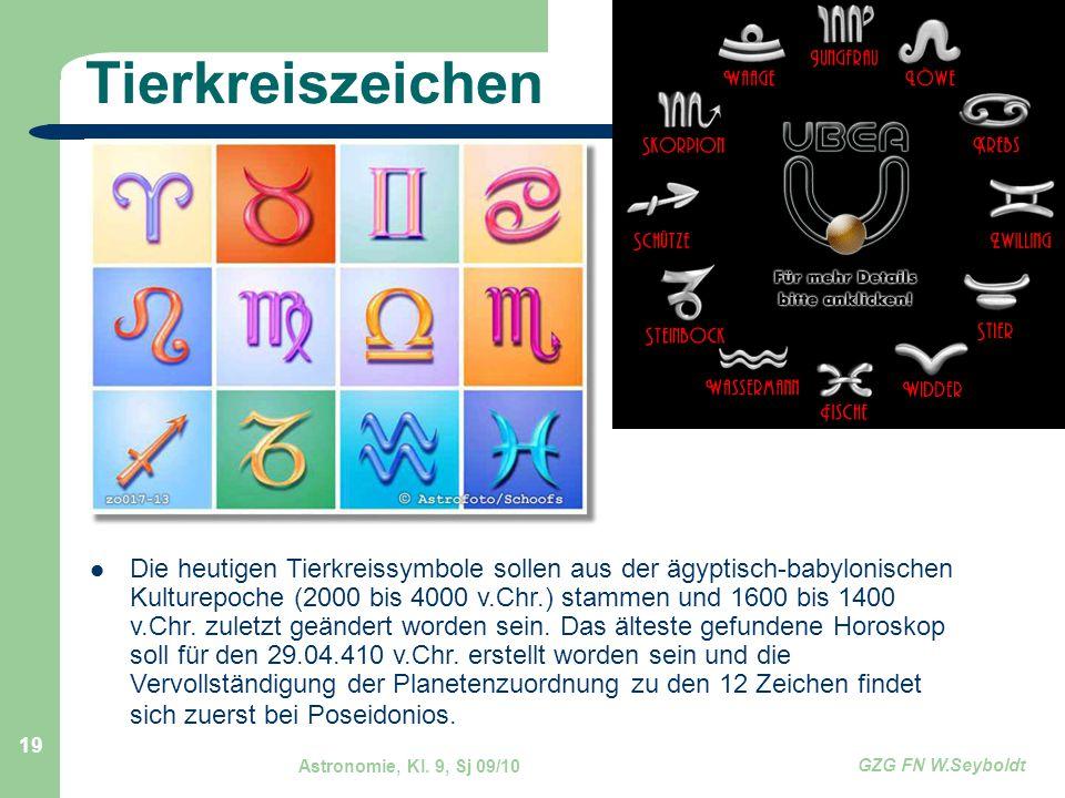 Astronomie, Kl. 9, Sj 09/10 GZG FN W.Seyboldt 19 Tierkreiszeichen Die heutigen Tierkreissymbole sollen aus der ägyptisch-babylonischen Kulturepoche (2