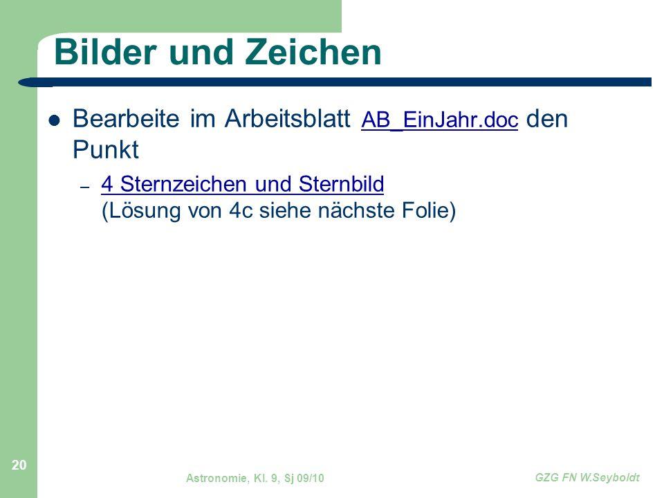 Astronomie, Kl. 9, Sj 09/10 GZG FN W.Seyboldt 20 Bilder und Zeichen Bearbeite im Arbeitsblatt AB_EinJahr.doc den Punkt AB_EinJahr.doc – 4 Sternzeichen