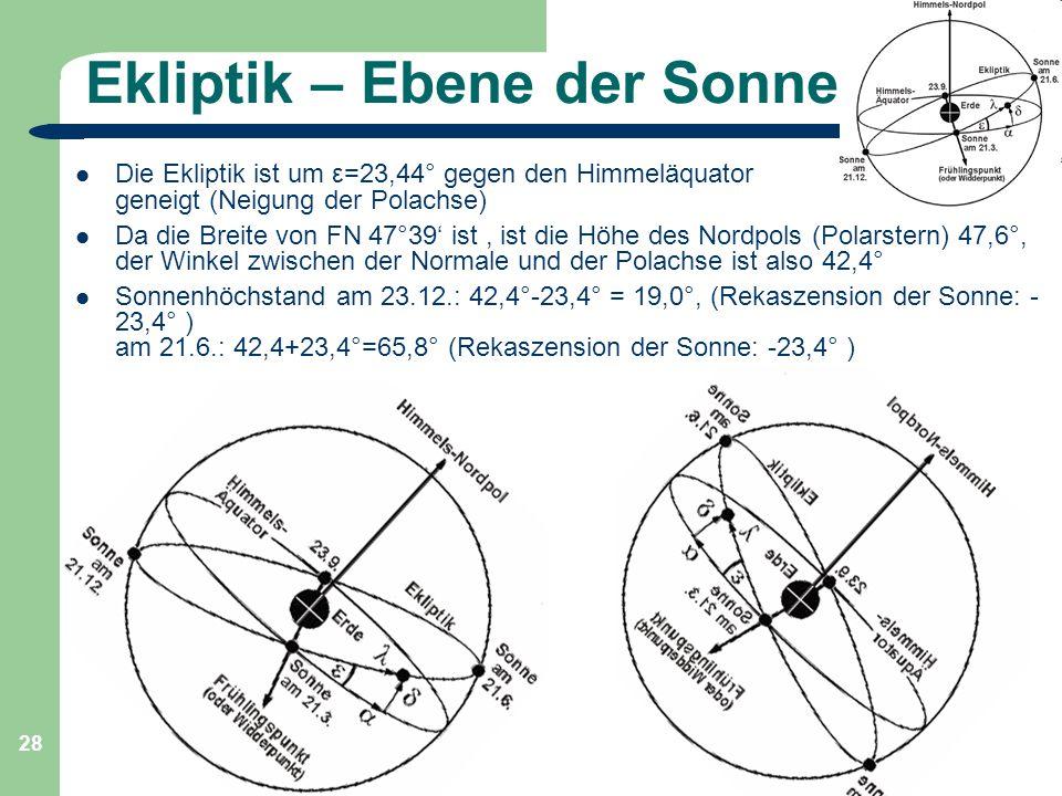Astronomie, Kl. 9, Sj 09/10 GZG FN W.Seyboldt 28 Ekliptik – Ebene der Sonne Die Ekliptik ist um ε=23,44° gegen den Himmeläquator geneigt (Neigung der